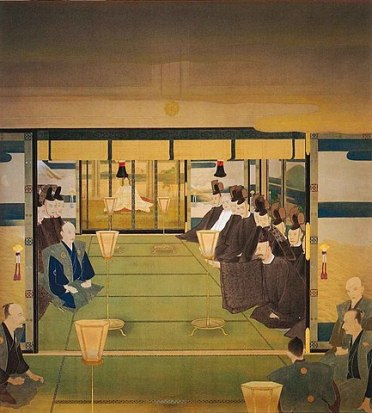A painting showing officials negotiating the restoration of the Emperor Meiji in the 1860s.